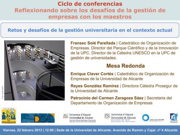 Plantilla invitación seminario Cátedra Prosegur Retos y desafíos de la gestión universitaria en el contexto actual 22-2-2013