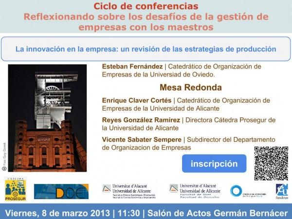Plantilla invitación seminario Cátedra Prosegur innovación empresa 8 marzo 2013