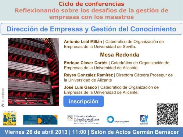 Plantilla invitacion seminario Catedra Prosegur gestion conocimiento 26-04-2013